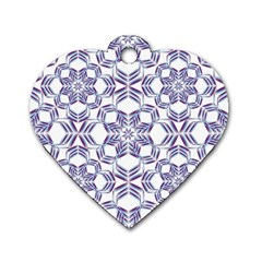 Better Blue Flower Dog Tag Heart (one Side)
