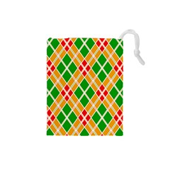 Chevron Wave Green Red Orange Line Drawstring Pouches (small)