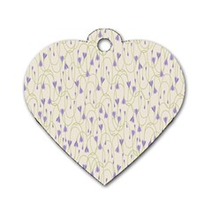 Flower Purple Dog Tag Heart (one Side)