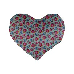 Fruit Flower Red Standard 16  Premium Flano Heart Shape Cushions by Jojostore