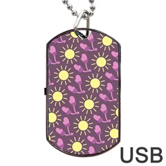 Gloves Sun Purple Yellow Dog Tag Usb Flash (two Sides)
