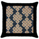 Geometric Cut Velvet Drapery Upholstery Fabric Throw Pillow Case (Black) Front