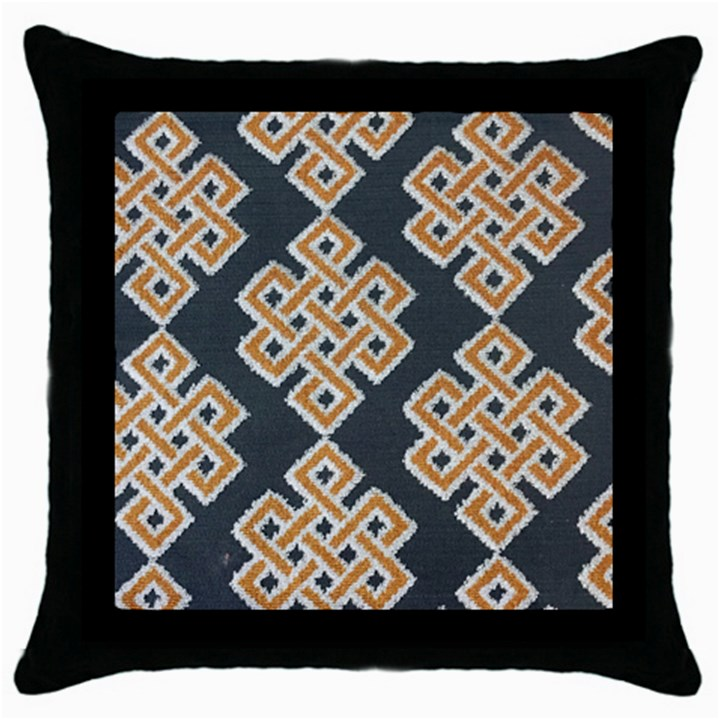 Geometric Cut Velvet Drapery Upholstery Fabric Throw Pillow Case (Black)