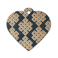 Geometric Cut Velvet Drapery Upholstery Fabric Dog Tag Heart (one Side) by Jojostore