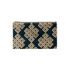 Geometric Cut Velvet Drapery Upholstery Fabric Cosmetic Bag (small)  by Jojostore