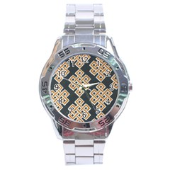Geometric Cut Velvet Drapery Upholstery Fabric Stainless Steel Analogue Watch by Jojostore