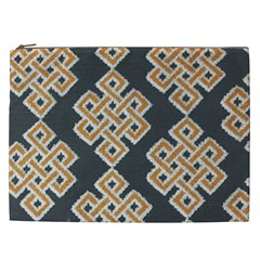 Geometric Cut Velvet Drapery Upholstery Fabric Cosmetic Bag (xxl)  by Jojostore