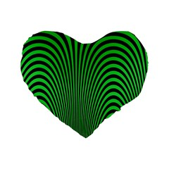 Green Optical Illusion Standard 16  Premium Heart Shape Cushions by Jojostore