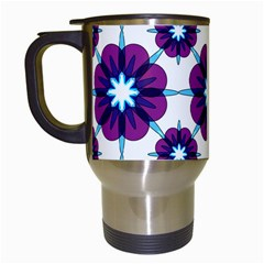 Link Scheme Analogous Purple Flower Travel Mugs (white) by Jojostore