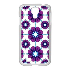 Link Scheme Analogous Purple Flower Samsung Galaxy S4 I9500/ I9505 Case (white) by Jojostore