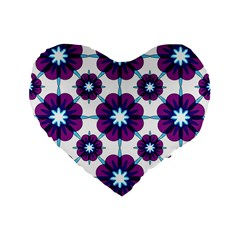 Link Scheme Analogous Purple Flower Standard 16  Premium Flano Heart Shape Cushions by Jojostore