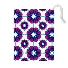 Link Scheme Analogous Purple Flower Drawstring Pouches (extra Large) by Jojostore