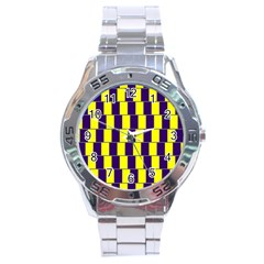Preview Wallpaper Optical Illusion Stripes Lines Rectangle Stainless Steel Analogue Watch by Jojostore