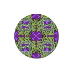 Paris Eiffel Tower Green Purple Magnet 3  (round) by Jojostore