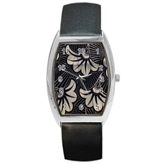 Printed Fan Fabric Barrel Style Metal Watch