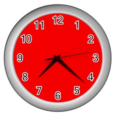 Red Color Wall Clocks (silver)  by Jojostore