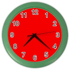 Red Color Color Wall Clocks