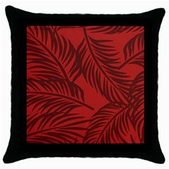 Red Palm Throw Pillow Case (black)