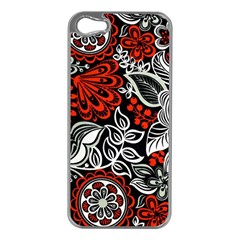 Red Batik Flower Apple Iphone 5 Case (silver)