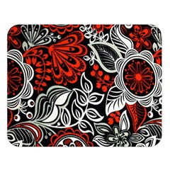 Red Batik Flower Double Sided Flano Blanket (large)