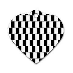 Wallpaper Line Black White Motion Optical Illusion Dog Tag Heart (two Sides)