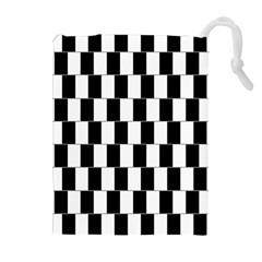 Wallpaper Line Black White Motion Optical Illusion Drawstring Pouches (extra Large) by Jojostore