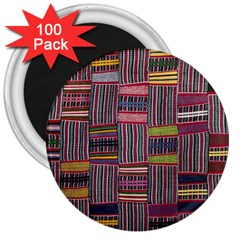 Strip Woven Cloth Color 3  Magnets (100 Pack) by Jojostore