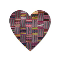 Strip Woven Cloth Color Heart Magnet by Jojostore