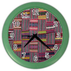 Strip Woven Cloth Color Color Wall Clocks by Jojostore