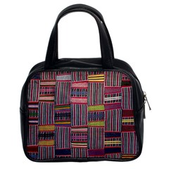 Strip Woven Cloth Color Classic Handbags (2 Sides)