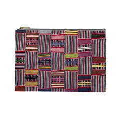 Strip Woven Cloth Color Cosmetic Bag (large)  by Jojostore