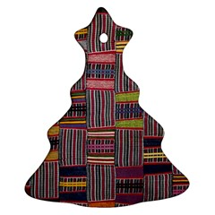 Strip Woven Cloth Color Ornament (christmas Tree)  by Jojostore