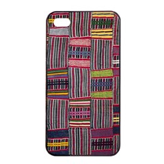 Strip Woven Cloth Color Apple Iphone 4/4s Seamless Case (black) by Jojostore