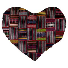Strip Woven Cloth Color Large 19  Premium Heart Shape Cushions by Jojostore