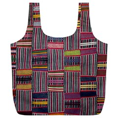 Strip Woven Cloth Color Full Print Recycle Bags (l)  by Jojostore