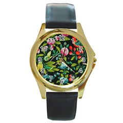 Tropical And Tropical Leaves Bird Round Gold Metal Watch by Jojostore
