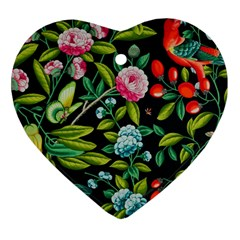 Tropical And Tropical Leaves Bird Heart Ornament (two Sides)