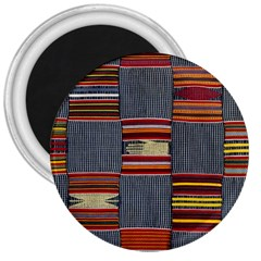 Strip Woven Cloth 3  Magnets by Jojostore