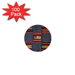 Strip Woven Cloth 1  Mini Buttons (100 Pack)  by Jojostore