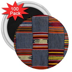 Strip Woven Cloth 3  Magnets (100 Pack) by Jojostore