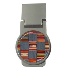 Strip Woven Cloth Money Clips (round)