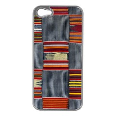 Strip Woven Cloth Apple Iphone 5 Case (silver) by Jojostore