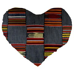 Strip Woven Cloth Large 19  Premium Heart Shape Cushions by Jojostore