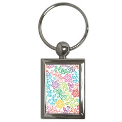 Texture Flowers Floral Seamless Key Chains (rectangle)
