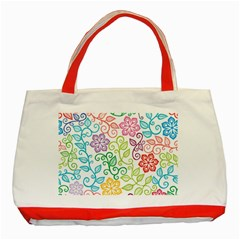 Texture Flowers Floral Seamless Classic Tote Bag (red) by Jojostore