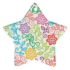 Texture Flowers Floral Seamless Star Ornament (two Sides)