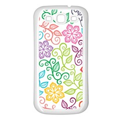 Texture Flowers Floral Seamless Samsung Galaxy S3 Back Case (white) by Jojostore