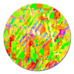 Cheerful Phantasmagoric Pattern Magnet 5  (round) by Amaryn4rt