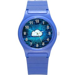 Circuit Computer Chip Cloud Security Round Plastic Sport Watch (s) by Amaryn4rt