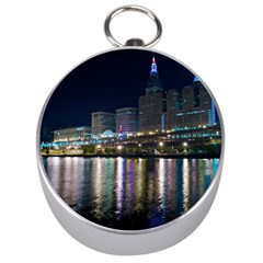 Cleveland Building City By Night Silver Compasses